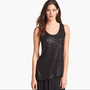 Eileen Fisher Black Sequin Silk Tank Top Size XS